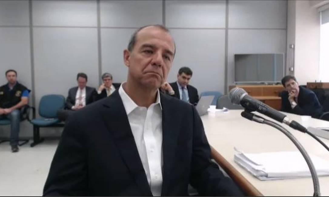 Ex-governador Sérgio Cabral durante seu depoimento a Sergio Moro, em Curitiba Foto: Reprodução