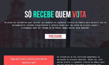 ONG pressiona e vereadores arquivam proposta de receber salários sem votar no Rio Foto: Reprodução