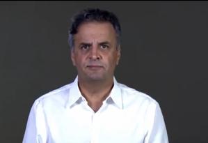 O senador afastado Aécio Neves (PSDB-MG) divulgou vídeo para se defender de acusações Foto: Reprodução/Twitter