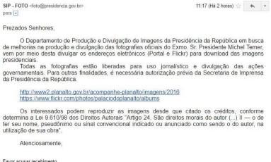 Mensagem enviada para o mailing da Presidência da República Foto: Reprodução