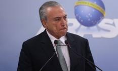 O presidente Michel Temer, durante pronunciamento no Palácio do Planalto Foto: André Coelho / Agência O Globo/18-05-2017