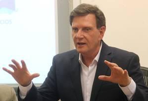 Coletiva do prefeito Marcelo Crivella para apresentação dos acordos firmados em sua viagem à Rússia a convite da prefeitura de Moscou Foto: Guilherme Pinto / Agência O Globo