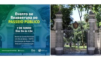 Montagem da mensagem da prefeitura do Rio ao lado de imagem real do passeio público do da cidade Foto: Montagem editoria de Arte