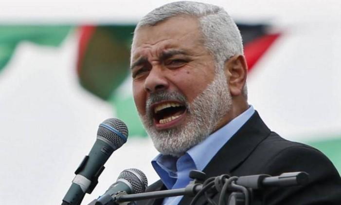 Ismail Haniyeh faz comício em Gaza Foto: Reuters