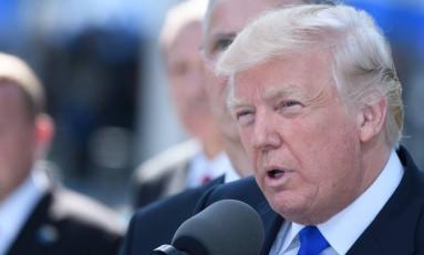 O presidente americano, Donald Trump, discursa durante a cerimônia de inauguração da nova sede da Otan, em Bruxelas Foto: CHRISTOPHE LICOPPE / AFP
