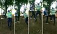 Fotógrafo do GLOBO André Coelho é agredido por policial militar durante manifestação em Brasília Foto: Montagem sobre fotos de Joedson Alves, da agência EFE