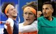 Da esquerda para a direita: Dominic Thiem, Alexander Zverev e Nick Kyrgios, três talentos da nova geração do tênis Foto: Montagem com fotos de Manu Fernandez, Matthias Schrader (AP) e Geoff Burke (USA Today Sports)