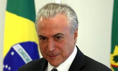 O presidente Michel Temer, durante encontro com Câmara Brasileira da Indústria da Construção e grupo de empresários Foto: Givaldo Barbosa / O Globo/25-05-2017