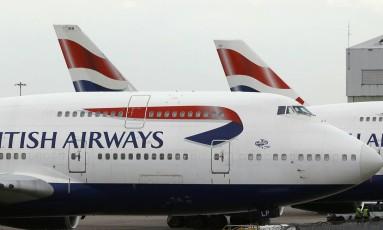 Avião da British Airways no aeroporto de Heathrow, em Londres Foto: Frank Augstein/AP/10-1-2017
