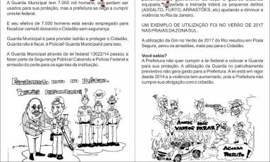 Panfleto distribuído pela Guarda Muncipal Foto: Reprodução