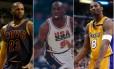 LeBron James, Michael Jordan e Kobe Bryant: quem é o melhor no basquete? Foto: Montagem/Fotos de AFP