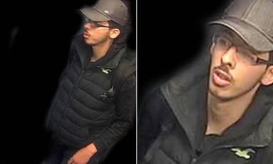 Salman Abedi vestia tênis, calça jeans, casaco escuro e boné, e nos ombros carregava uma mochila Foto: POLÍCIA DE MANCHESTER