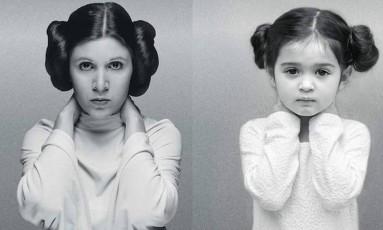 Uma garotinha de três anos da Flórida é a nova estrela do Instagram: isso graças às fotos em que a pequena Scout Larson aparece homenageando mulheres notáveis como a atriz Carrie Fisher (1956-2016) Foto: Instagram