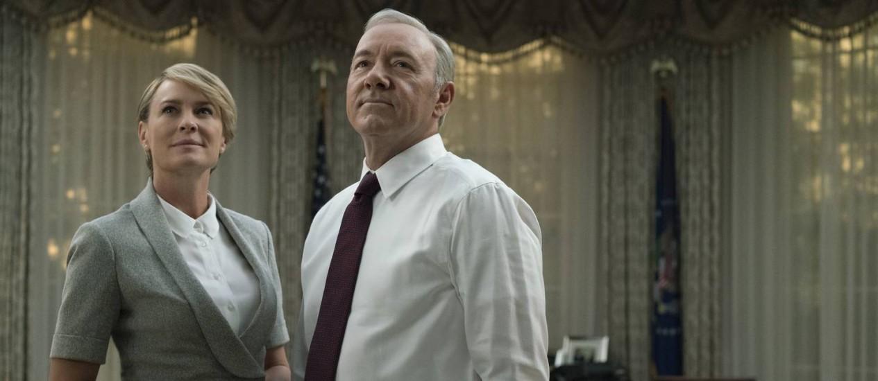 Robin Wright e Kevin Spacey em cena de 'House of cards' Foto: David Giesbrecht/Netflix / David Giesbrecht/Netflix