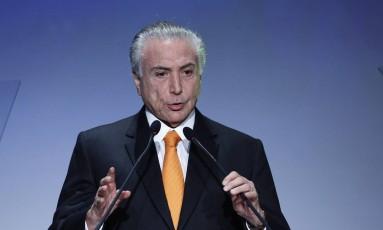 Temer, durante Fórum de Investimentos Foto: Edilson Dantas / Agência O Globo