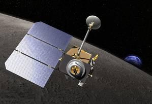 Ilustração mostra a Lunar Reconnaissance Orbiter na órbita da Lua Foto: NASA