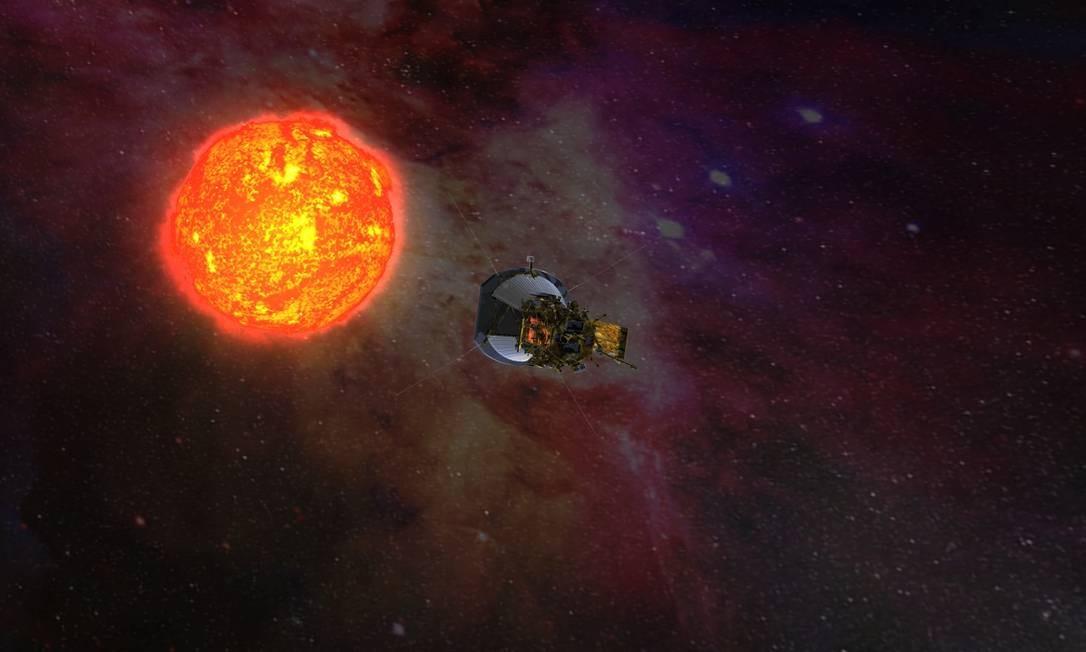 Ilustração mostra a sonda Solar Probe Plus, da Nasa, com seus painéis recohidos sob a proteção de seu escusdo enquanto se aproxima do Sol em uma das passagens previstas para estudar de perto nossa estrela Foto: NASA/Johns Hopkins University Applied Physics Laboratory