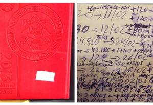 Agenda do Corpo de Bombeiros apreendida na casa de Luiz Carlos Bezerra Foto: Reprodução