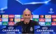 Zidane, técnico do Real Madrid, em coletiva de imprensa antes da final da Liga dos Campeões