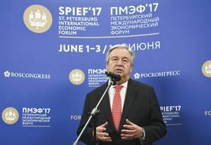 O secretário-geral das Nações Unidas, António Guterres, particpa do Fórum Econômico Internacional em São Petersburgo, na Rússia Foto: POOL / REUTERS