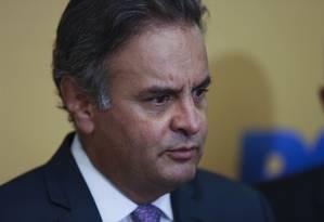 O senador Aécio Neves (PSDB), durante entrevista coletiva em Brasília Foto: Michel Filho / Agência O Globo/01-04-2017
