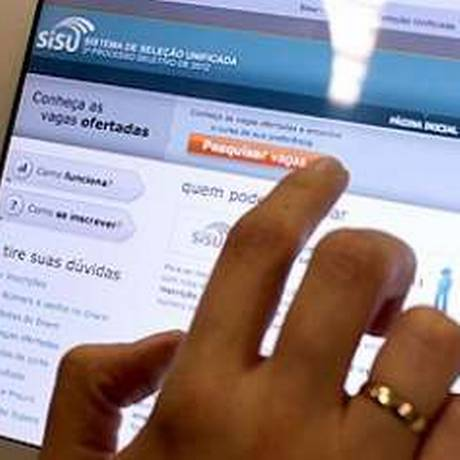 Página do Sisu, sistema no qual candidatos podem escolher até duas opções de curso de graduação em universidades de todo o país Foto: Reprodução