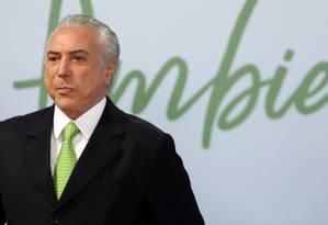 O presidente Michel Temer, durante cerimônia em comemoração ao Dia Mundial do Meio Ambiente Foto: Givaldo Barbosa/05-06-2017 / Agência O Globo