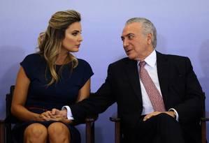 Na foto, o presidente Michel Temer com a esposa Marcela Temer. Foto: Jorge William / Agência O Globo