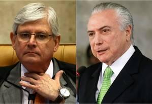 O procurador, Rodrigo Janot e o presidente, Michel Temer Foto: Agência O Globo / AFP