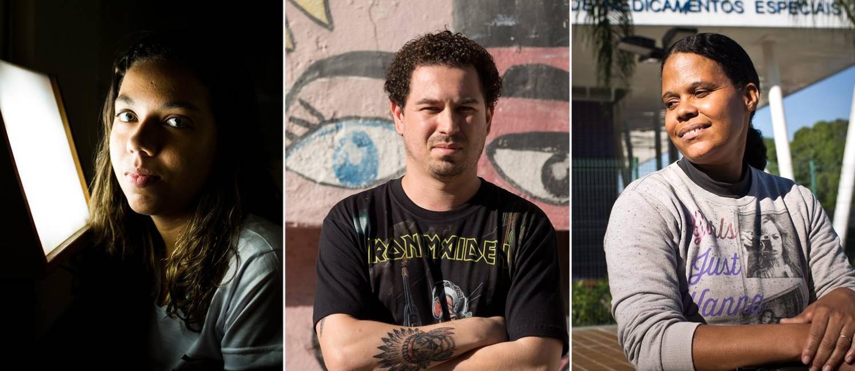 Graziela, William e Maria: rotinas que cruzam com a crise do Estado Foto: Arte / O Globo