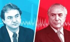 O empresário Joesley Batista e o presidente Michel Temer Foto: Editoria de Arte