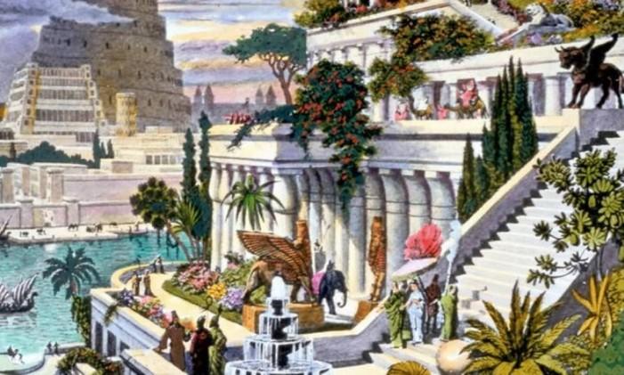 Pintura de Martin Heemskerck mostra o que seriam os Jardins Suspensos da Babilônia Foto: WIKIPEDIA