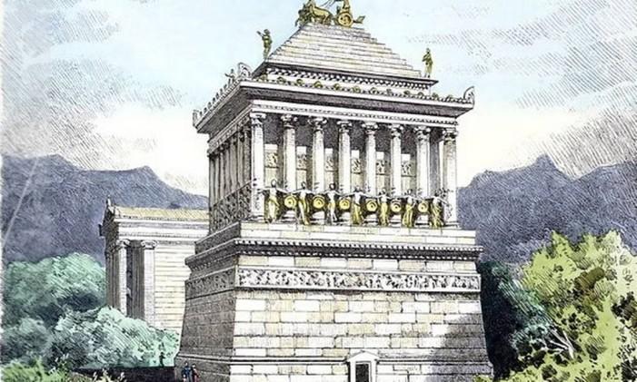 Ilustração do que seria o Mausoléu de Halicarnasso Foto: WIKIPEDIA