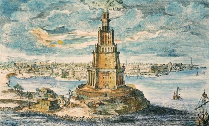 Ilustração de como seria o Farol de Alexandria Foto: Wikipedia