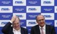 O Senador Tasso Jereissati e o governador Geraldo Alckmin (SP) durante reunião da diração do PSDB