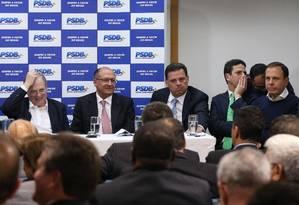 Executiva nacional do PSDB se reúne em Brasília para definir permanência no governo Temer em junho de 2017 Foto: André Coelho / O Globo/ 12-06-2017