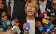 A procuradora-geral da Venezuela, Luisa Ortega Diaz, durante entrevista coletiva, em Caracas Foto: Luis Robayo / AFP/06-06-2017