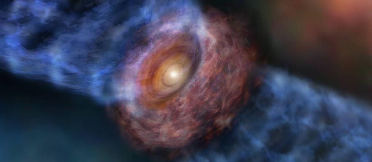 Ilustração mostra o fluxo de material em rotação expelido pela estrela 'bebê' gigante Orion KL Source I: processo 'rouba' momento angular do sistema Foto: ESO/NAOJ/NRAO