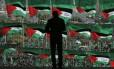 Palestinos apoiadores do Hamas em comício na cidade de Gaza. (14/12/08)