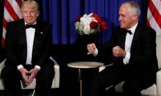 Donald Trump e Malcolm Turnbull, durante encontro em Nova York no dia 4 de maio Foto: JONATHAN ERNST / REUTERS