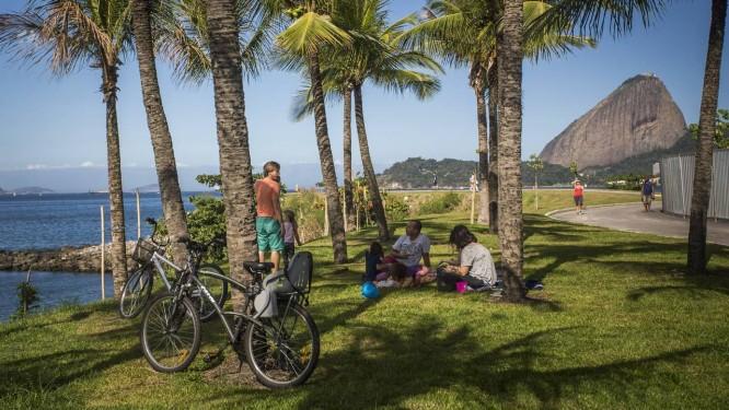 Ciclistas descansam sob as palmeiras na nova área de lazer com ciclovia que foi aberta ao público no Aterro do Flamengo, ao lado da Marina da Glória: projeto de paisagismo é do escritório de Burle Marx Foto: Guito Moreto / Agência O Globo