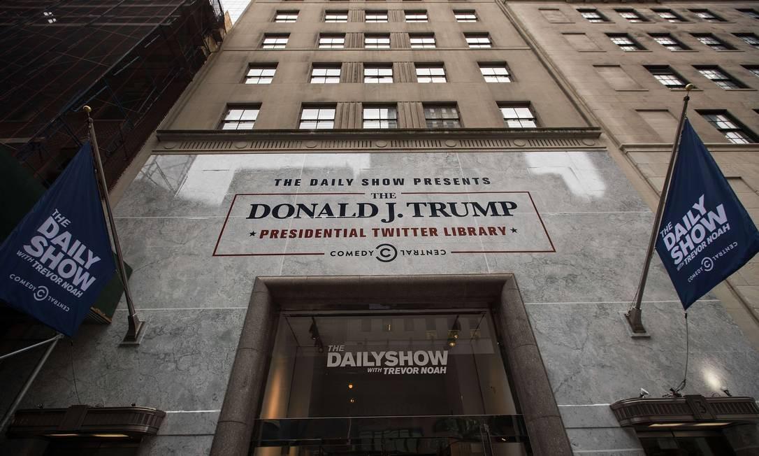 O local foi montado em Nova York, a poucos quarteirões de distância da Trump Tower Drew Angerer / AFP