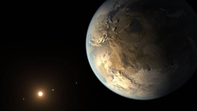 Ilustração do exoplaneta Kepler-186f, primeiro com tamanho parecido com o da Terra e na zona habitável de sua estrela, suja descoberta foi anunciada wem 2014 Foto: NASA/JPL-Caltech/T. Pyle