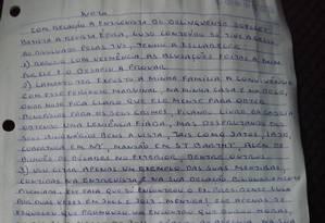 Carta de Eduardo Cunha Foto: Reprodução