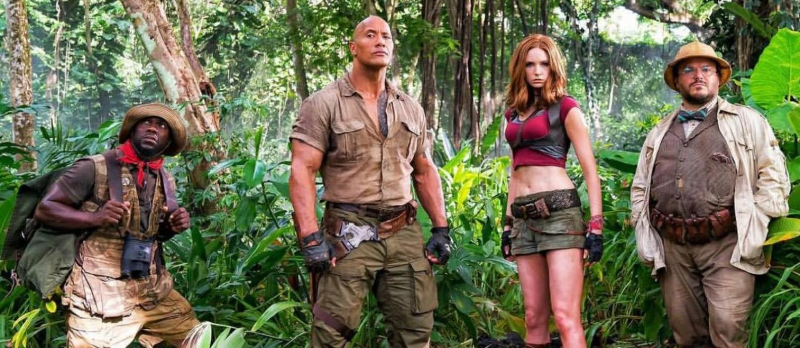 Jack Black, Kevin Hart, Dwayne Johnson e Karen Gillan em cena de 'Jumanji: Bem-vindo à selva' Foto: Divulgação