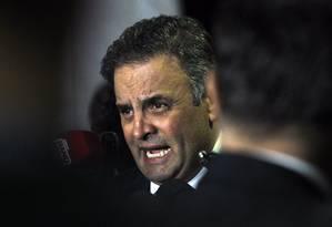 O senador Aécio Neves (PSDB-MG), afastado do mandato por decisão do ministro Edson Fachin Foto: Givaldo Barbosa / Agência O Globo / 31-10-16