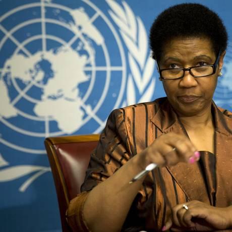 Phumzile Mlambo-Ngcuka, diretora executiva da ONU Mulheres, entidade das Nações Unidas que faz parte da cruzada contra os estereótipos femininos Foto: Anja Niedringhaus / AP/13-1-2014