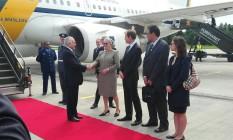 O presidente Michel Temer é recebido por autoridades noruegas, em sua chegada a Oslo Foto: Presidência da República/Divulgação