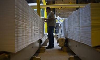 Celulose na unidade de processamento da Eldorado em Três Lagoas, em Mato Grosso do Sul. Foto: Dado Galdieri / Bloomberg