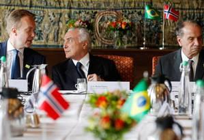 Presidente da República, Michel Temer, acompanhado do Ministro das Negócios Estrangeiros da Noruega, Senhor Borge Brende e do Ministro das Relações Exteriores, Aloysio Nunes Foto: Beto Barata / PR